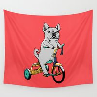 frenchie Wall Tapestries featuring Frenchie Ride by Huebucket