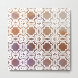 WHITE AND GOLD WATERCOLOR MOSAIC  Metal Print