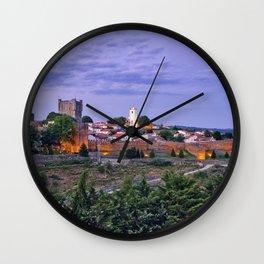 Braganca, Portugal at dusk Wall Clock