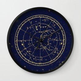 Metallic Gold Vintage Star Map 3 Wall Clock
