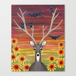 white tailed deer, bats, black eyed susans Canvas Print