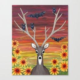 white tailed deer, bats, black eyed susans Canvas Print