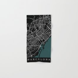 City of Barcelona Map Hand & Bath Towel