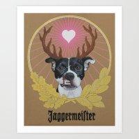 pitbull Art Prints featuring Jaggermeister - pitbull by PaperTigress