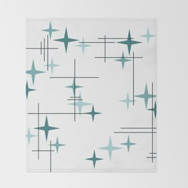 Mid Century Modern Stars (Teal) Throw Blanket