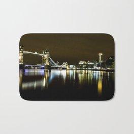 Night photo of Tower Bridge London with light reflections Bath Mat