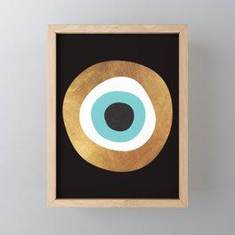 Gold Evil Eye 70s Bohemian Lucky Charm Nazar  Framed Mini Art Print
