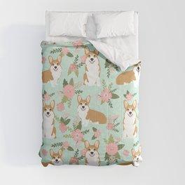 Corgi Floral Print - mint coral, floral, spring, girls feminine corgi dog Comforters
