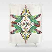 hummingbird Shower Curtains featuring hummingbird  by Manoou