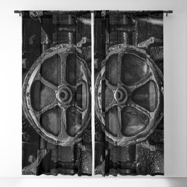 Trivial Pursuits Steam Train Detail Abstract Vintage Railroad Photography Black and White Blackout Curtain