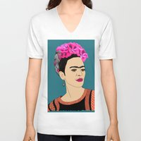 frida kahlo V-neck T-shirts featuring Frida Kahlo by Stephanie Jett