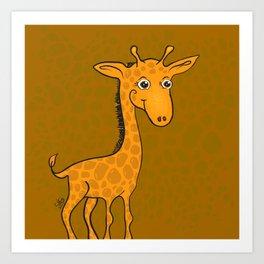 Giraffe - Sepia Brown Art Print