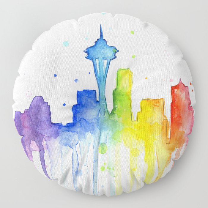 Seattle Skyline Rainbow Watercolor Floor Pillow