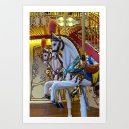 Vintage Carousel Horses Art Print