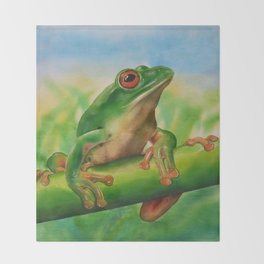 Green Treefrog Throw Blanket