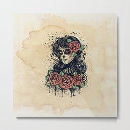 Vintage sugar skull girl Metal Print