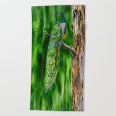 Peacock's Pride by Teresa Thompson Beach Towel