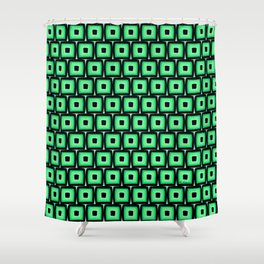 Mod Green Squares Shower Curtain