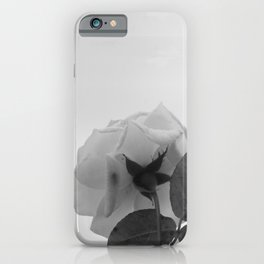 Rose White Flower Grey scale Closeup iPhone Case