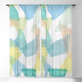 Boys Play Translucent Triangles Sheer Curtain