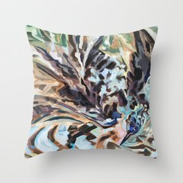 Bathing Grackle Throw Pillow