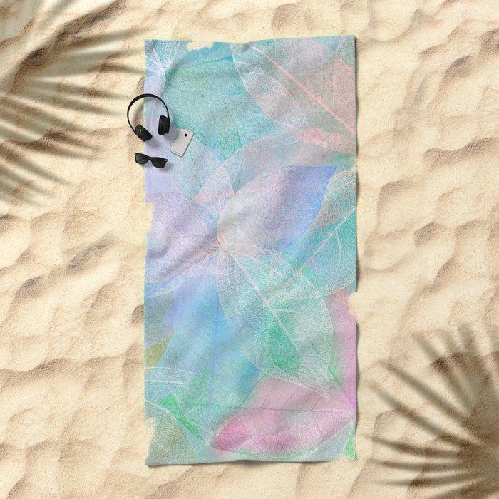 Pastel Colored Leaf Skeletons Beach Towel