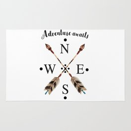 Cardinal directions Compass Arrows Adventure awaits Typography Rug