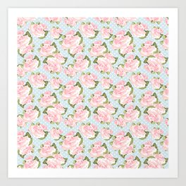 Pink Roses on Blue Polka Dots Art Print