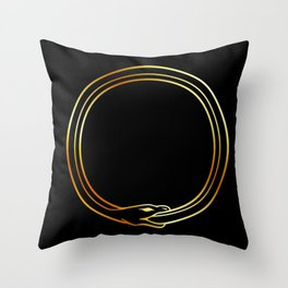 The symbol of Ouroboros snake in gold colors Throw Pillow
