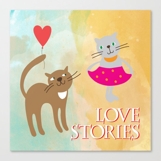 Cats - love stories Canvas Print