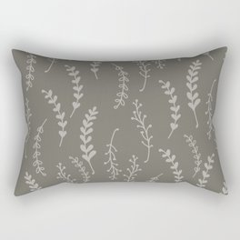 Simple Botanical Pattern in Gray Monochrome Rectangular Pillow