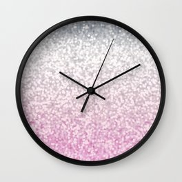 Silver and Pink Glitter Ombre Wall Clock