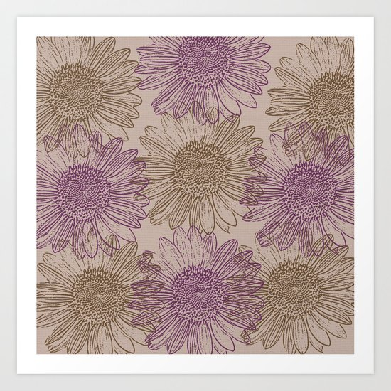 Purple and Gold Sunflowers Art Print