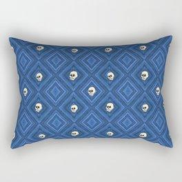 Funny little Skull pattern, blue Rectangular Pillow