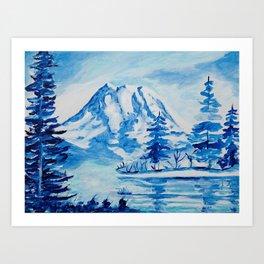 Winter Mt. Rainier Art Print