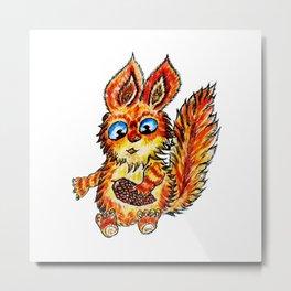 Cartoon Squirrel Sketch Metal Print