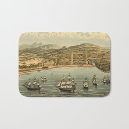 Vintage Pictorial Map of San Francisco (1884)  Bath Mat