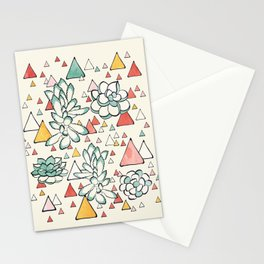 Succulent and triangles seamless pattern Stationery Cards
