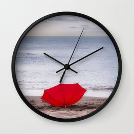 Red Umbrella at the beach Wall Clock