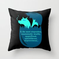 smaug Throw Pillows featuring O Smaug by Fairly Artful Artworks