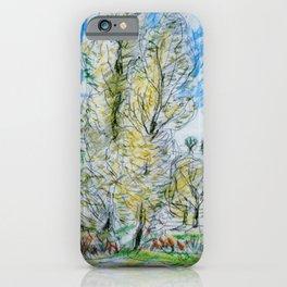 Kida Kinjiro - Grove of Poplars (1958) iPhone Case