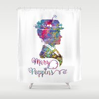 mary poppins Shower Curtains featuring Mary Poppins Portrait Silhouette by Bitter Moon