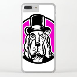 Icon retro style illustration of a British brown bear head with United Kingdom UK, Great Britain Uni Clear iPhone Case