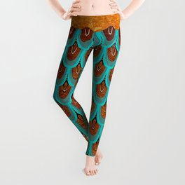 Copper Metal Foil and Aqua Mermaid Scales- Abstract glitter pattern  Leggings