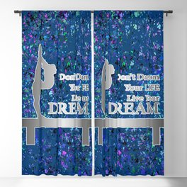 Gymnastics Live Your Dream-Silver and Navy Digital Design Blackout Curtain