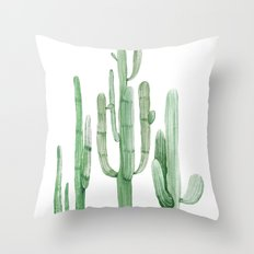 Three Amigos White + Green Throw Pillow