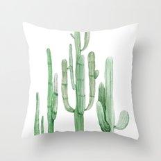 Three Amigos White + Green Throw Pillow