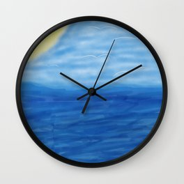 Birds riding the waves Wall Clock