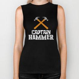Captain Hammer, Carpenter Gift, Woodworker, Wood Working Biker Tank