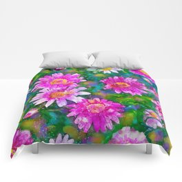 Pink Daisies Flower Party 1 by Jennifer Berdy Comforters